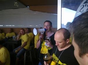 Head Brewer, Ian Watson, being Noisy