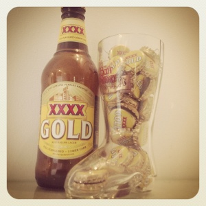 XXXX Gold and The Boot Factory beer glass