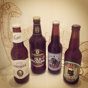 Extra Strong Vintage Ale - Coopers (Australia) 7.5%, Old Peculier - Theakstons (England) 5.6%, Smoked Porter - Feral Brewing Co. (Australia) 4.9%, Hopinator - Holgate Brewhouse (Australia) 7.0%