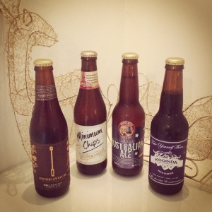 Reserve Amber Ale 2011 - Endeavour Beverages (Australia) 5.2%, Minimum Chips - Matilda Bay (Australia) 4.7%, Australian Ale - Bridge Road Brewers (Australia) 4.4%, Kooinda Milk Porter - Happy Place Brewing (Australia) 4.7%